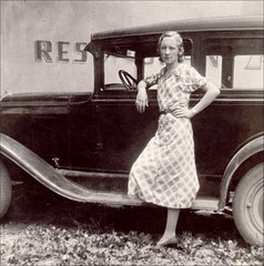 Restaurant Stop Pose (newmexico51) Tags: old woman car vintage pose found photo thirties 1930s mujer dress femme photograph restroom