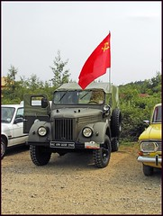 UAZ Shows the Colour (tatrakoda) Tags: auto red classic car automobile flag salt gaz voiture communist soviet socialist oldtimer 69 wiltshire russian berkshire coldwar ussr cccp airbase hammersickle youngtimer greenhamcommon uaz salt4 easteuropean 10millionphotos luxurytour