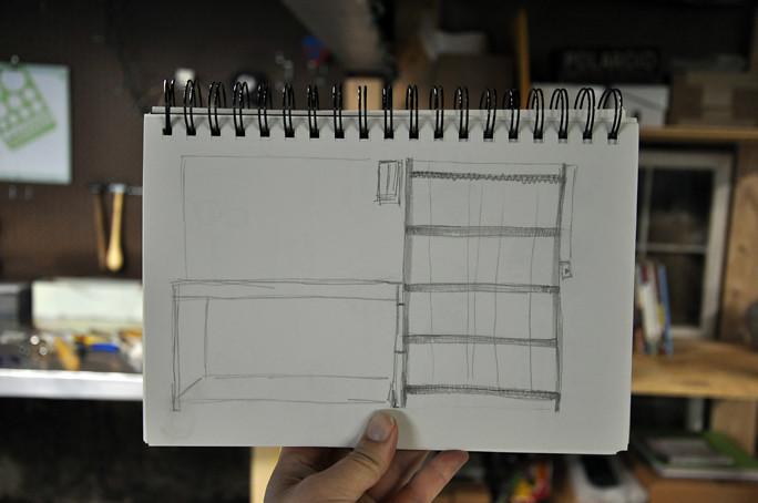 studio desk sketch