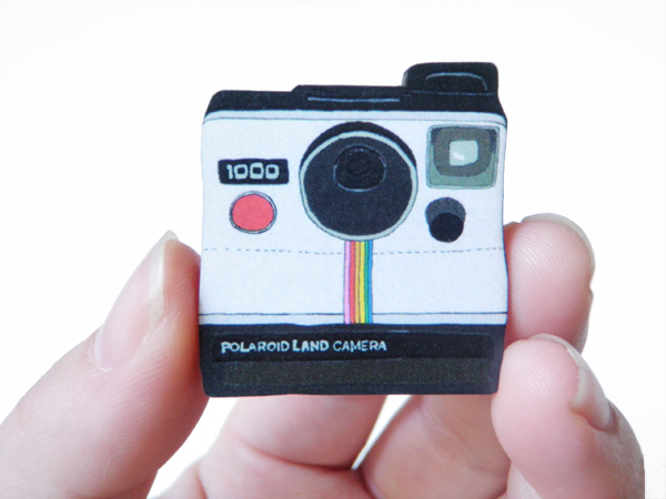 Polaroid Wood Brooch