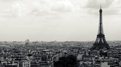 (paula.caroline) Tags: favorite paris france digital canon view cross eiffeltower hazy process larcdetriomphe rebelxs