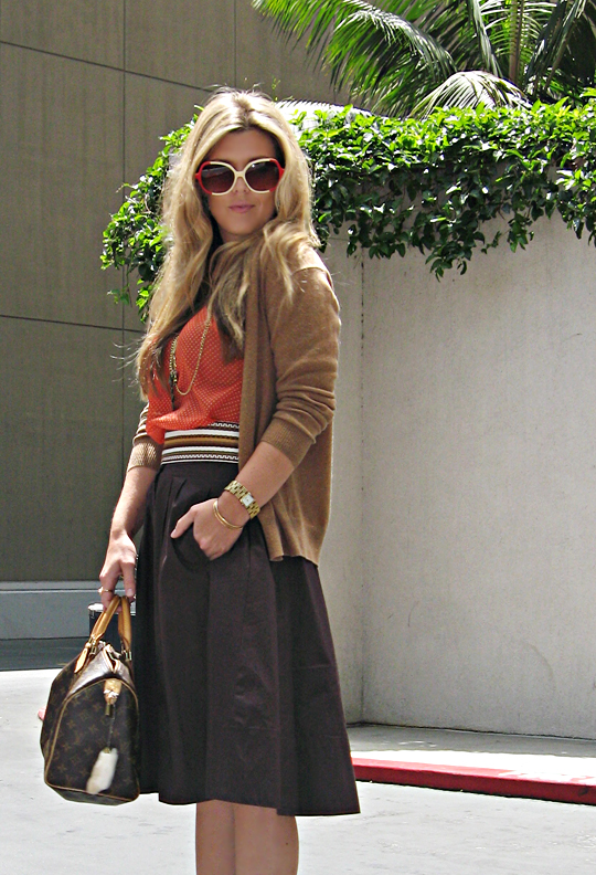 vintage sunglassses+louis vuitton speedy+skirt and cardigan+librarian+pour la victoire shoes+ethnic sash belt+leyendecker tank