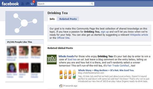 Página de beber té en Facebook