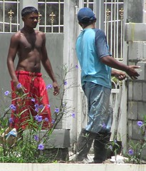 Barely Equipped (Legin_2009) Tags: red shirtless man male men guy wall shirt work asian outside outdoors workers boots indian south mason cement guys trainers jeans cap topless jersey males worker caribbean poloshirt polo wellingtons mnner hombres mec  mecs  gason    hommes homens