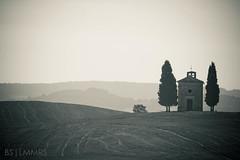 Vitaleta's Chapel for the lonely traveler (Bas Lammers) Tags: morning summer italy tree sunrise chapel monotone hills crete siena sunrays toscane asciano vitaleta mywinners mygearandmepremium mygearandmebronze mygearandmesilver