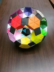 Rotunda Drilled truncated Icosidodecahedron-Complete (Origami Tatsujin 折り紙) Tags: art colors paperart origami geometry multicolored papiroflexia papercraft papercrafts polyhedra modularorigami tomokofuse geometricbeauty geometricart colorfulart pentagonalpyramid kunihikokasahara stewarttoroid greatrhombicosidodecahedron truncatedicosidodecahedron rotundadrilledtruncatedicosidodecahedron pentagonalrotunda equilateraltriangularflatunitii squareflatunit