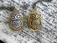Silvery and Golden Owl Lockets