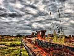 Iron Grass (Wilamber) Tags: sunset red sky black green grass clouds grey boat interesting rust iron exploring william lord exploration barge chard lordwilliamchard wwwlordwilliamchardcouk