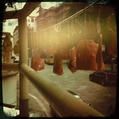Teebeutel werden probehalber aufgehangen und teilweise mit schönsten Farben bemalt!