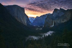 Sunrise over Yosemite (Darvin Atkeson) Tags: california park fog clouds sunrise three waterfall spring veil brothers el falls national valley yosemite dome half rest bridal capitan darvin atkeson darv liquidmoonlightcom liquidmoonlight