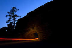 Night shot of the tunnel with lights (Visit Colorado) Tags: park music festival concert amphitheatre livemusic band redrocks visitorscenter