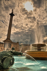 Fountains of Civil Obedience (mendhak) Tags: london water fountain pool statue clouds square ominous united trafalgar surreal kingdom nelson spray civil column fountains obedience hdr mendhakwebsite