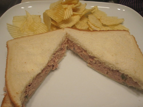 Chips and tuna sandwich