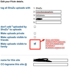 Does Pixelpipe support flickr uploads that are visible only to family like ShoZu does?