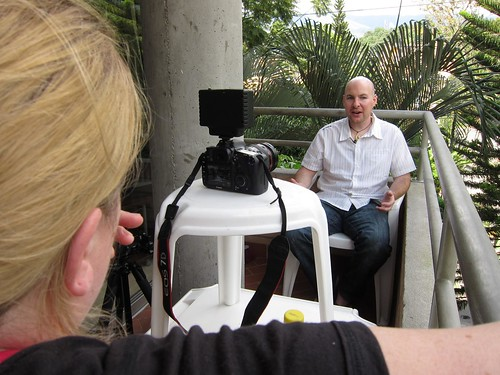 Christine interviews me on the balcony of my Medellin apartment.