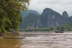 approaching ban pak ou, lao (2bsimple) Tags: river asia southeastasia limestone laos lao mekongriver luangphabang pakoucaves banpakou earthasia
