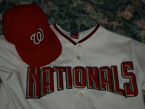 Curly W cap and Nationals beveled-block
