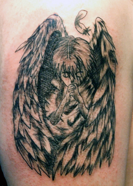 Praying Angel Sketch Tattoo. Paulo Madeira Tattoo Artist and BodyPiercer