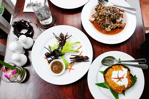 Deep-fried Tarantula, Stir-fried Red Tree Ants with Beef and Holy Basil, Pumpkin Amok