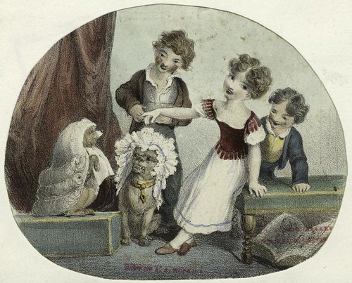 nypl, Children placing wigs and headdresses on their pets
