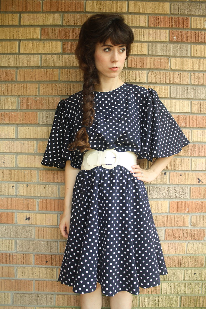 vintage navy polka dot dress
