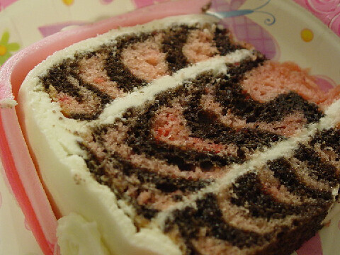 Chocolate/strawberry zebra cake