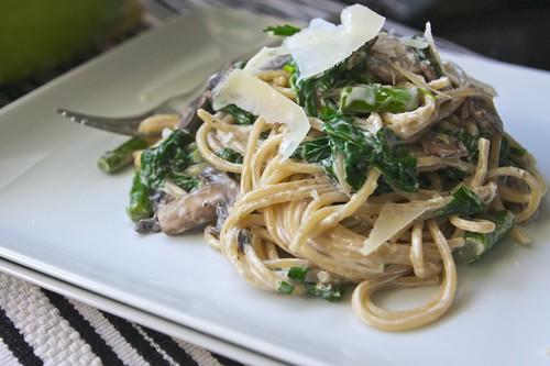 spinach mushroom asparagus pasta