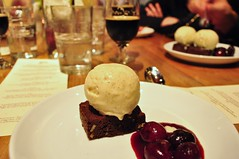 image of Super Chocolate-y hazelnut brownie  ... paired with Port Older Viscosity during the Lost Abbey / Port Brewing Dinner at Art of the Table courtesy of our Flickr page