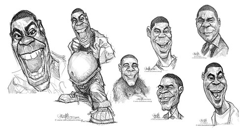 digital sketch studies of Tracy Morgan - all