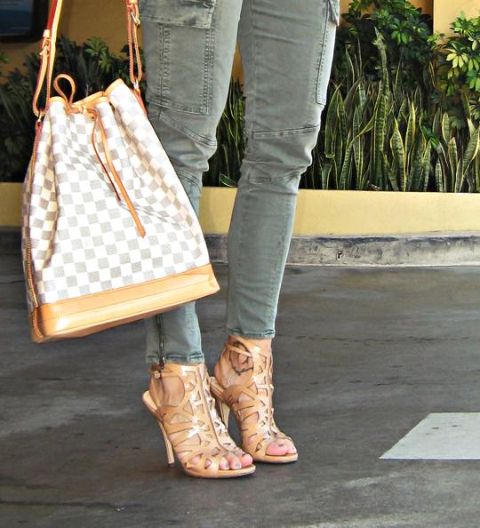 Louis Vuitton damier azur no bucket bag+nude heels+j brand houlinhan+pp