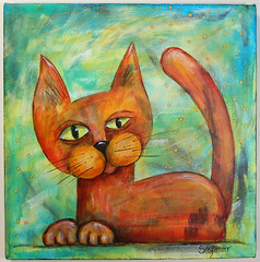 Squinty Cat 2 (StegArt) Tags: color art cat painting acrylic canvas