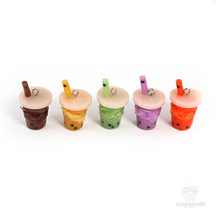 Scented Boba Tea Charms (tinyhandsonline) Tags: brown green apple miniature diy hands bubbletea purple tea handmade chocolate honeydew craft jewelry watermelon polymerclay clay tiny bubble accessories boba charms grape polymer bobatea tinyhands