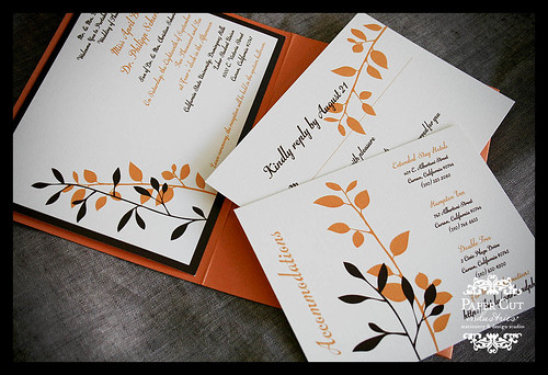 Orange Brown Pocket Fold Wedding Invitations