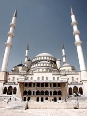 Ankara / Turkey (fioletowy_kot) Tags: blue sky white building architecture turkey temple minaret muslim islam prayer style mosque ottoman muslims ramadan ankara anatolia kocatepe