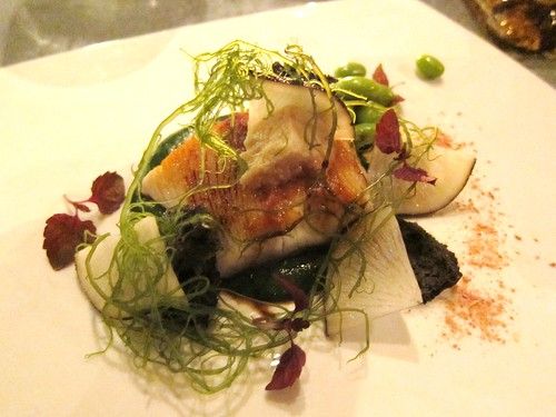 Kingfish Edamame with soy tofu and blacjt radish at Tippling Club