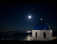 caldera (Theo_G) Tags: longexposure blue sea sky moon church water night stars volcano coast cross horizon aegean santorini greece caldera dome moonlight cyclades thira imerovigli greekisland canon400d