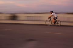 Bike Blur (~nut*meg~) Tags: bridge sunset motion blur bike 28mm 110 practice rider f95 playadelrey panshot perfectconditions coachedbybean