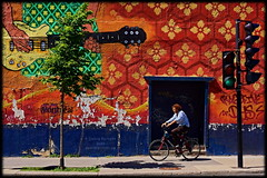 quirky colour / colourful quirk (Now and Here) Tags: ca canada tree bike bicycle wall canon eos graffiti trafficlight paint quebec guitar fb montreal sidewalk dslr qc passerby villemarie 40d canon40d tamronaf2875mmf28xrdildasphericalif dontbikeonthesidewalk