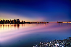 sunrise on the Hudson River, New York City (mudpig) Tags: city nyc newyorkcity longexposure ny newyork reflection skyline night sunrise geotagged dawn newjersey jerseycity bravo downtown cityscape worldtradecenter financialdistrict esb bankofamerica hudsonriver empirestatebuilding gothamist chryslerbuilding hdr hoboken unionhill mudpig stevekelley onepenn