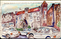Woodhaven Boulevard in Queens, NY. (Nik Ira) Tags: pen ink watercolor sketch queens woodhaven