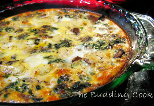 The Budding Cook: Crustless Quiche With Spinach And Mushrooms