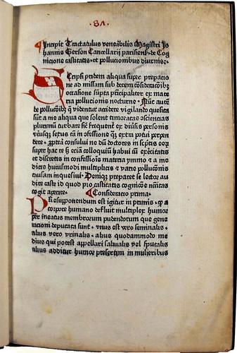 Page of text from 'De cognitione castitatis et de pollutionibus diurnis.' Sp Coll Ferguson An-y.20