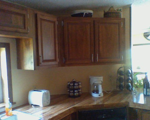 redone cabinets right of sink