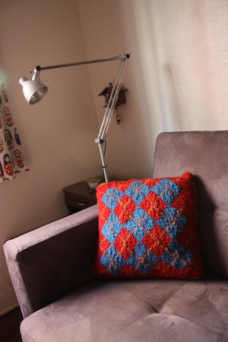 Small-Multiple Argyle Pillow, Red Side