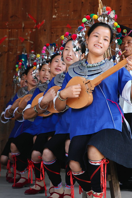Dong girls singing, Chengyang, Guangxi, China