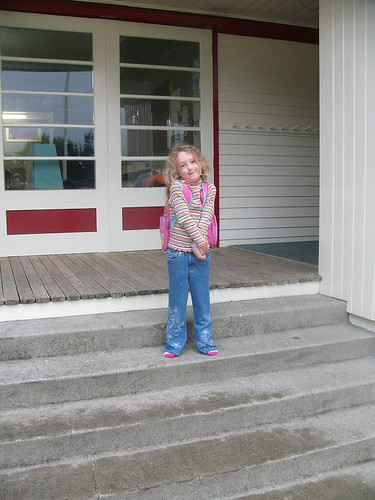 20110202b Kathleen outside her classroom