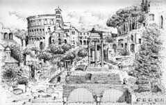 Rome (schromann) Tags: rome roma pen sketch roman drawing forum rom zeichnung romanum skizze