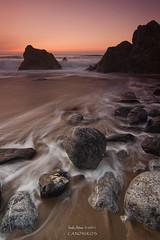 Red Sunset  `[Explore] (saki_axat) Tags: longexposure sunset red sea seascape beach water rocks explore bizkaia bakio colorphotoaward