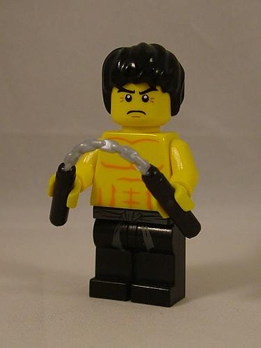 Custom minifig Bruce Lee with BrickArms Nunchucks Prototype