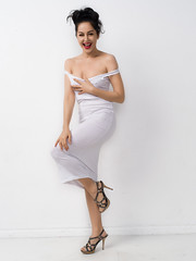 Tank dress 2 (Bruce M Walker) Tags: white highkey longtankdress woman updo heels laugh laughing fun humour